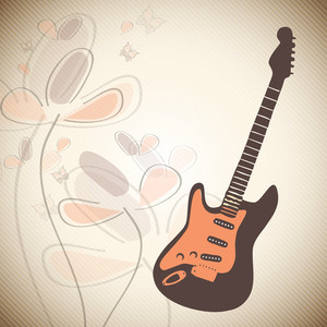 Vector musical background with guitar on floral decorated background.