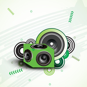 Vector musical background with loud speakers in green color