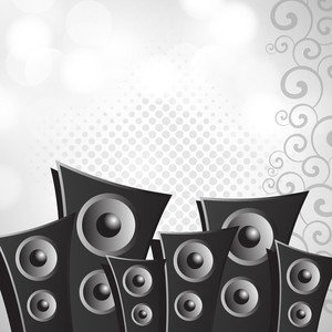 Vector musical background with loud speakers on grey floral background