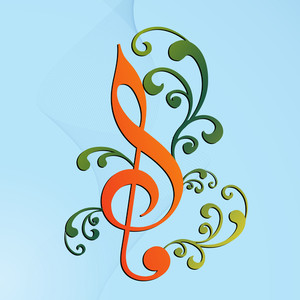 Vector musical background with musical node and green floral design