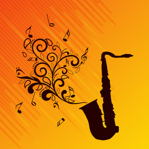 Vector musical background with musical nodes and saxophone