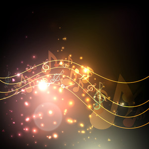 Vector Musical Background With Musical Notes And Waves On Shiny Background .