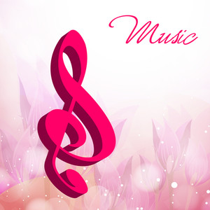 Vector musical background with pink musical node