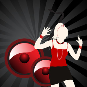 Vector musical background with white silhouette of a girl dancing on sounds beat