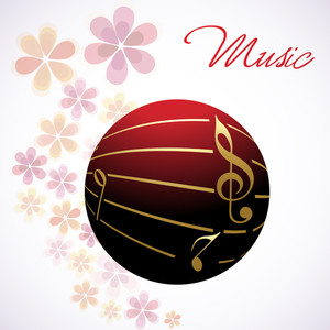 Vector Musical Bal Decorated With Golden Notes