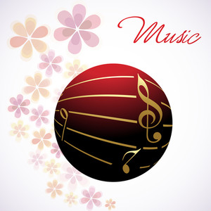 Vector musical ball decorated with golden notes