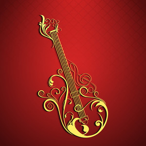 Vector musical concept with floral decorated guitar on red background.