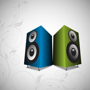 Vector musical concept with loud speaker on floral decorated background