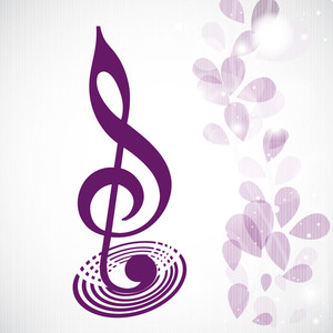Vector Musical Concept With Musical Note On Floral Decorated Background
