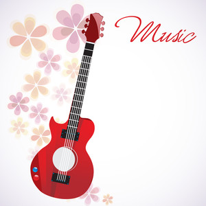 Vector musical concept with stylish guitar on floral decorated background