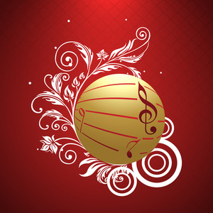 Vector musical golden ball decorated by musical notes