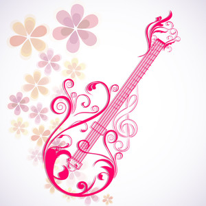 Vector Musical  With Guitar On Floral Decorated Background