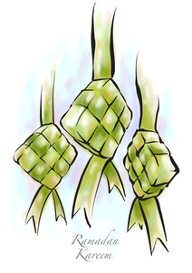 Vector Muslim Ketupat Drawing. Translation: Ramadan Kareen - May Generosity Bless You During The Holy Month
