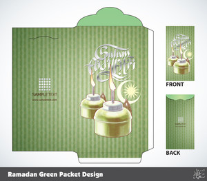 Vector Muslim Ramadan Money Green Packet Design. Translation Of Malay Text: Peaceful Celebration Of Eid Ul-fitr