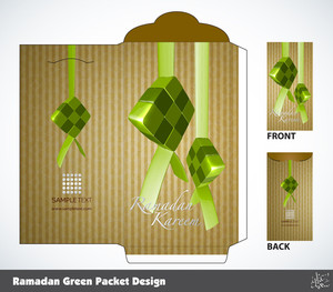 Vector Muslim Ramadan Money Packet Design. Translation: Peaceful Celebration Of Eid Ul-fitr