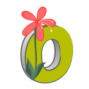 Vector O Alphabet With Flower