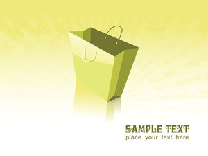 Vector Of Green Shopping Bag With Place For Text