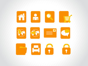 Vector Of Symbols And Icons In Orange
