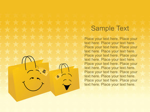 Vector Of Yellow Shopping Bags With Place For Text