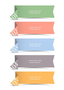 Vector Origami Paper Numbered Banners