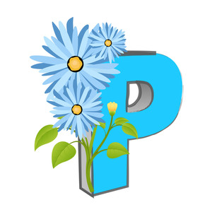 Vector P Alphabet With Flower