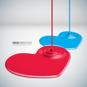Vector Paints Dripping Red And Blue Hearts