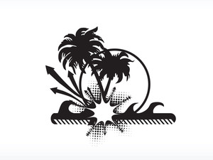 Vector Palm Tree Series_6 Logo Isolated On White