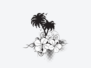 Vector Palm Trees With Hibiscus Flowers And Grunge Elements
