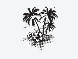 Vector Palm Trees With Hibiscus Flowers And Swirl Elements