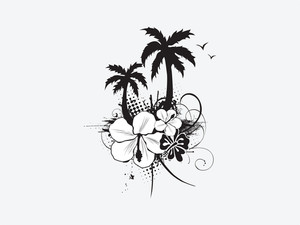 Vector Palm Trees With Hibiscus Flowers On White Background