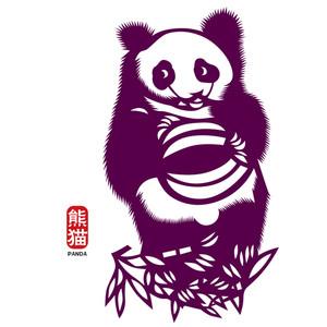 Vector Panda Paper Cutting