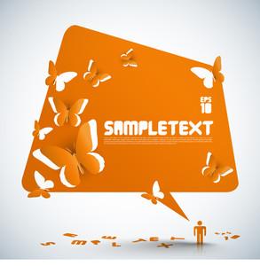 Vector Paper Sculpted Speech Bubble With Butterflies Cut-out Patterns