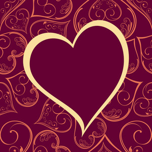 Vector Pattern Heart Shape Frame In Megenta Color Background.
