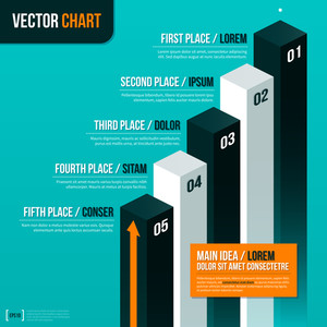 Vector Pedestal With Five Options On Turquoise Background. Eps10.