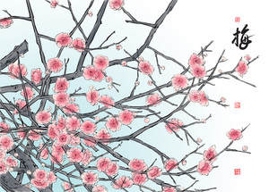 Vector Plum Blossom. Translation: Plum