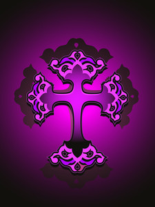 Vector Purple Background With Isolated Cross