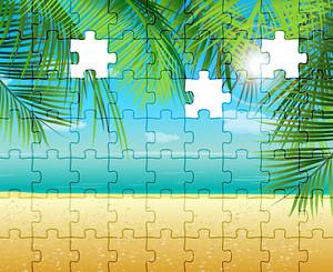 Vector Puzzle Summer Illustration