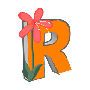 Vector R Alphabet With Flower