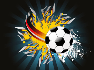 Vector Rays Background With Grungy Fiery Football