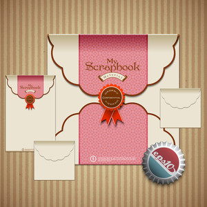 Vector Retro Envelope Set For Scrapbook Design