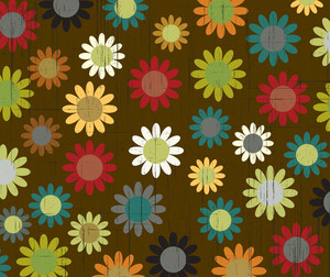 Vector Retro Floral Background With Grunge