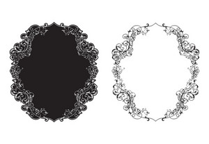 Vector Retro Floral Frame In Two Different Styles