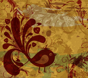 Vector Retro Grunge Floral Background