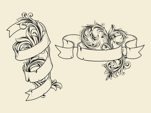 Vector Ribbons With Floral