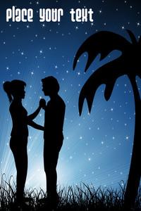 Vector Romantic Couple In Garden