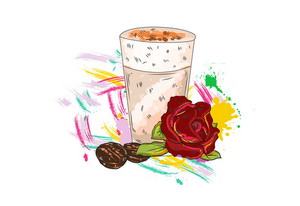 Vector Rose With Colorful Splashes