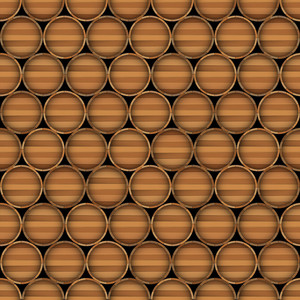 Vector Seamless Background Of Wooden Barrels