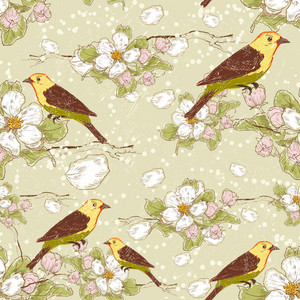Vector Seamless Floral Background With Birds