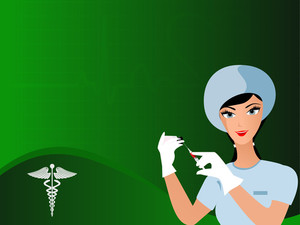 Vector Seamless Heart Beat Background With Uniformed Nurse.