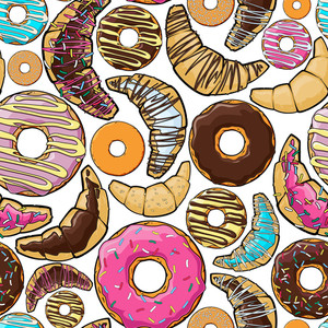 Vector Seamless Pattern With Cartoon Donuts And Croissants.